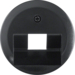 140701 Centre plate for FCC socket outlet Serie 1930/Glas,  black glossy
