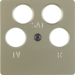 148411 Central plate for aerial socket 4hole (Ankaro) Communication technology,  light bronze matt,  lacquered