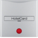 16401404 Centre plate with imprint for push-button for hotel card with red lens,  aluminium,  matt,  lacquered