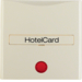 16408982 Centre plate with imprint for push-button for hotel card with red lens,  Berker S.1, white glossy