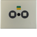 17050104 Centre plate socket outlet for floating output Berker Arsys,  stainless steel,  metal matt finish