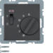 20306086 Temperature controller,  NC contact,  with centre plate with rocker switch,  anthracite velvety,  lacquered
