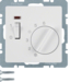20316089 Temperature controller,  NC contact,  with centre plate,  24 V AC/DC with rocker switch,  polar white velvety