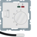 20346089 Thermostat,  NO contact,  with centre plate,  for underfloor heating with rocker switch,  external temperature sensor,  Berker Q.1/Q.3, polar white velvety