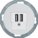 26002089 230 V USB charging socket outlet with screw terminals,  Serie 1930/R.classic,  polar white glossy