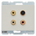 3315320002 3 x Cinch/S-Video socket outlet Berker Arsys,  white glossy