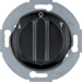 381101 Rotary switch for blinds 1pole with centre plate Rotary knobs,  Serie 1930/Glas,  black glossy