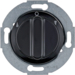 381201 Rotary switch for blinds 2pole with centre plate Rotary knobs,  Serie 1930/Glas,  black glossy