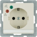 41086082 SCHUKO socket outlet with overvoltage protection with labelling field,  Screw terminals,  white glossy