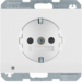 41097009 SCHUKO socket outlet with LED orientation light enhanced contact protection,  with screw-in lift terminals,  Berker K.1, polar white glossy