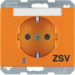 "41100077 SCHUKO socket outlet with control LED and ""ZSV"" imprint with labelling field,  enhanced contact protection,  Screw-in lift terminals,  Berker Arsys,  orange glossy"