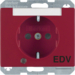 "41100082 SCHUKO socket outlet with control LED and ""EDV"" imprint with labelling field,  enhanced contact protection,  Screw-in lift terminals,  Berker Arsys,  red glossy"