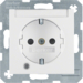 41101909 SCHUKO socket outlet with control LED with labelling field,  enhanced contact protection,  with screw-in lift terminals,  Berker S.1/B.3/B.7, polar white matt