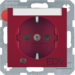 "41101915 SCHUKO socket outlet with control LED and ""EDV"" imprint with labelling field,  enhanced contact protection,  Screw-in lift terminals,  Berker S.1/B.3/B.7, red matt"