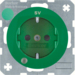 "41102003 SCHUKO socket outlet with control LED and ""SV"" imprint with labelling field,  enhanced contact protection,  Screw-in lift terminals,  Berker R.1/R.3/R.8, green glossy"