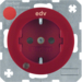 "41102022 SCHUKO socket outlet with control LED and ""EDV"" imprint with labelling field,  enhanced contact protection,  Screw-in lift terminals,  Berker R.1/R.3/R.8, red glossy"