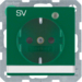 "41106013 SCHUKO socket outlet with control LED and ""SV"" imprint with labelling field,  enhanced contact protection,  Screw-in lift terminals,  Berker Q.1/Q.3, green velvety"