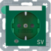 "41108913 SCHUKO socket outlet with control LED and ""SV"" imprint with labelling field,  enhanced contact protection,  Screw-in lift terminals,  Berker S.1/B.3/B.7, green glossy"