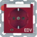"41108915 SCHUKO socket outlet with control LED and ""EDV"" imprint with labelling field,  enhanced contact protection,  Screw-in lift terminals,  Berker S.1/B.3/B.7, red glossy"