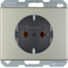 41140004 SCHUKO socket outlet with screw-in lift terminals,  Berker Arsys,  stainless steel,  metal matt finish