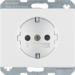 41350069 SCHUKO socket outlet with enhanced touch protection,  Screw-in lift terminals,  Berker Arsys,  polar white glossy