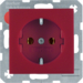 41431912 SCHUKO socket outlet with screw-in lift terminals,  Berker S.1/B.3/B.7, red matt