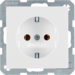 41436089 SCHUKO socket outlet with screw-in lift terminals,  polar white velvety