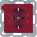 41438912 SCHUKO socket outlet with screw-in lift terminals,  Berker S.1/B.3/B.7, red glossy