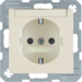 41498982 SCHUKO socket outlet with labelling field,  enhanced contact protection,  Screw-in lift terminals,  Berker S.1, white glossy