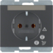 41527106 SCHUKO socket outlet with overvoltage protection with labelling field,  Screw terminals,  Berker K.1, anthracite matt,  lacquered