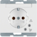 41527109 SCHUKO socket outlet with overvoltage protection with labelling field,  Screw terminals,  Berker K.1, polar white glossy