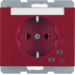 41527115 SCHUKO socket outlet with overvoltage protection with labelling field,  Screw terminals,  Berker K.1, red glossy