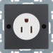 41666086 Socket outlet with earthing contact USA/CANADA NEMA 5-15 R with screw terminals,  anthracite velvety,  lacquered