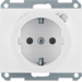47087009 SCHUKO socket outlet with residual current circuit-breaker enhanced contact protection,  Berker K.1, polar white glossy
