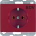 "47150082 SCHUKO socket outlet with ""EDV"" imprint Berker Arsys,  red glossy"