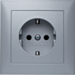 47229939 SCHUKO socket outlet with cover plate with enhanced touch protection,  Berker S.1, aluminium,  matt,  lacquered