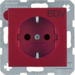 "47231922 SCHUKO socket outlet with ""EDV"" imprint enhanced contact protection,  Berker S.1/B.3/B.7, red"