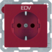 "47236022 SCHUKO socket outlet with ""EDV"" imprint enhanced contact protection,  Berker Q.1/Q.3, red"