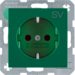 "47238903 SCHUKO socket outlet with ""SV"" imprint enhanced contact protection,  Berker S.1/B.3/B.7, green"