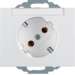 47287109 SCHUKO socket outlet 45° with labelling field,  Berker K.1, polar white glossy