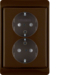 47290001 Double SCHUKO socket outlet with frame enhanced contact protection,  Berker Arsys,  brown glossy