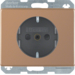 47350007 SCHUKO socket outlet with enhanced touch protection,  Berker Arsys Kupfer Med,  copper,  natural metal