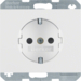 47357009 SCHUKO socket outlet with enhanced touch protection,  Berker K.1, polar white glossy