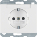 47380069 SCHUKO socket outlet with labelling field,  enhanced contact protection,  Berker Arsys,  polar white glossy