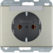 47399004 SCHUKO socket outlet with labelling field,  Berker Arsys,  stainless steel matt,  lacquered