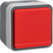 47403521 SCHUKO socket outlet with red hinged cover surface-mounted with labelling field,  with screw-in lift terminals,  Berker W.1, grey/light grey matt