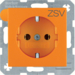 "47431907 SCHUKO socket outlet with ""ZSV"" imprint Berker S.1/B.3/B.7, orange matt"