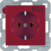 "47431922 SCHUKO socket outlet with ""EDV"" imprint Berker S.1/B.3/B.7, red matt"