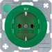 "47432003 SCHUKO socket outlet ""SV"" imprint Berker R.1/R.3, green glossy"