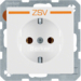 "47436049 SCHUKO socket outlet with ""ZSV"" imprint in orange polar white velvety"